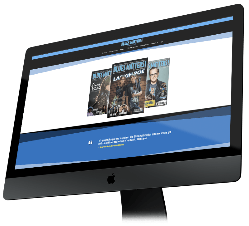 Website displayed on imac
